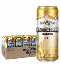 哈尔滨(Harbin) 小麦王啤酒 330ml*24听 麦香浓郁 一起 哈啤